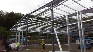 Continued steel erection at Butler Floor Offices and Warehouse.